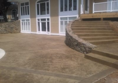 Decorative Concrete Patio with Steps