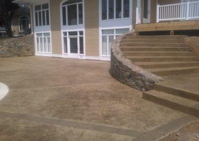 Decorative Concrete Patio with Steps