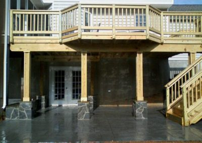 Stamped Concrete and Masonry Tiered Patio