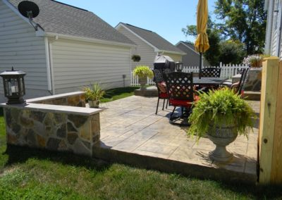 Decorative Patio and Masonry Wall