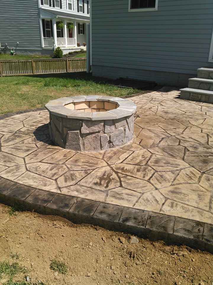 Stamped Concrete Patio With Firepit