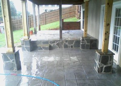 2 Tiered Stamped Patio with Masonry