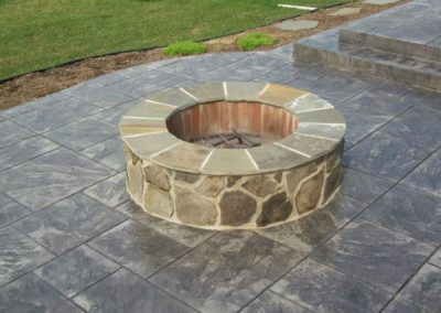 Masonry Firepit with Tiered Ashlar Slate Patio