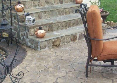 Masonry Steps with Random Stone Stamped Patio