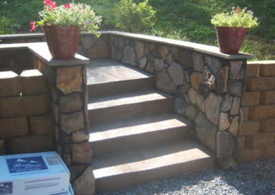 Stamped Concrete and Steps with Masonry Wall